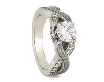 Forever One Moissanite Engagement Ring With Diamond Accent, Meteorite Ring in 10k White Gold, Celestial Jewelry