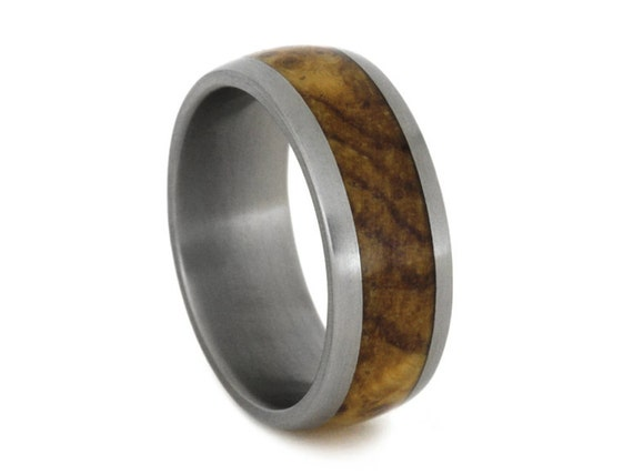Titanium Ring With Black Ash Burl Inlay, Masculine Ring, Wood Wedding Band