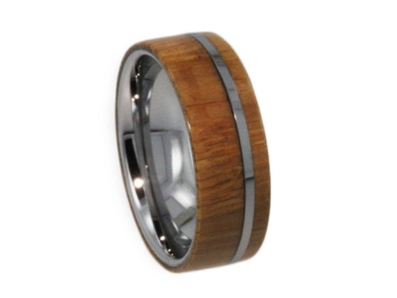 Mens Tungsten Wedding Band, Wood Ring with Flat Profile, Custom Waterproof Ring