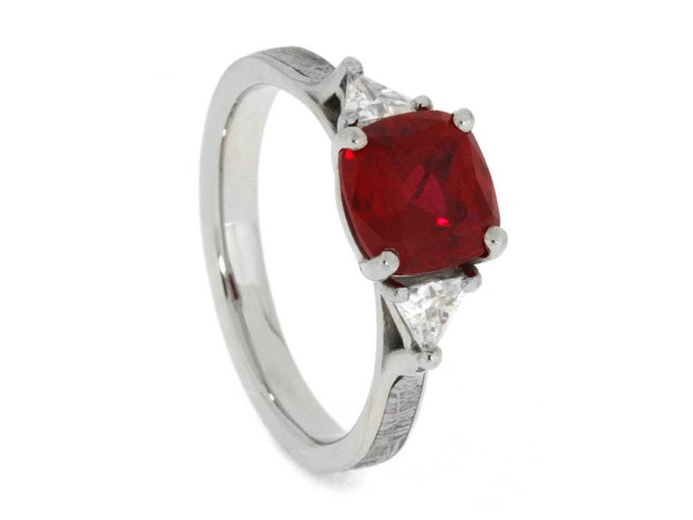 Antique Square Ruby Engagement Ring With Triangle Cut