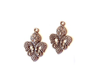 Pair of Small Antique Silver-tone Fleur de Lis Charms Marcasite-Look with Rhinestones