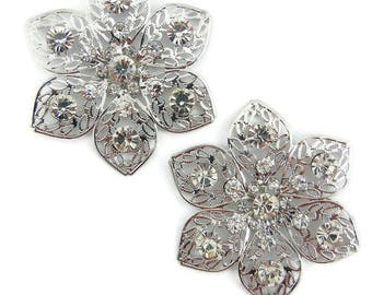 Pair of Large Filigree Snowflake or Flower Rhinestone Accents Charms Silver-tone