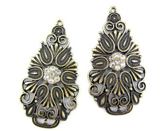 Pair of Burnished Gold-tone Teardrop Charms Rhinestones