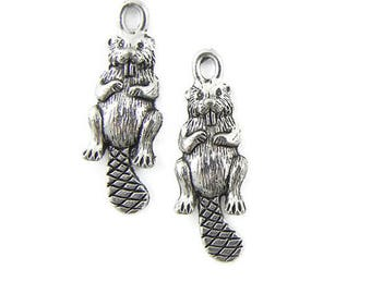Pair of Pewter Beaver Charms