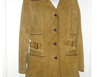 vintage caramel tan suede jacket with piping trim and belted side tabs mens XS womens M