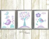 Aqua lavender purple nursery art Kids wall art baby nursery decor tree bird nursery baby girls room Decor Set of 3 Prints