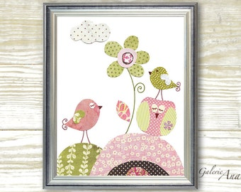 Owl nursery decor - Girl baby nursery print kids art - kids room decor - Pink and green - A Sunny Day print