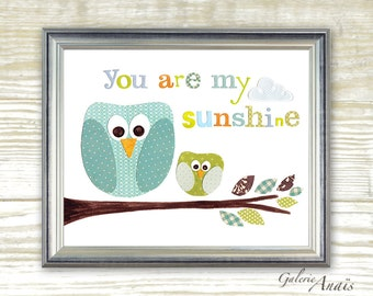 Green and Blue Owl - You Are My Sunshine -  baby nursery decor - children wall art - kids bird owl - print