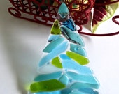 Fused Glass Turquoise, Green and Aqua Christmas Tree Ornament