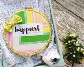 Think the Happiest of Thoughts Bright Yellow Hoop Art