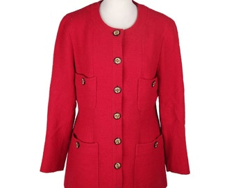 Authentic CHANEL BOUTIQUE Vintage Red Collarless BLAZER Jacket