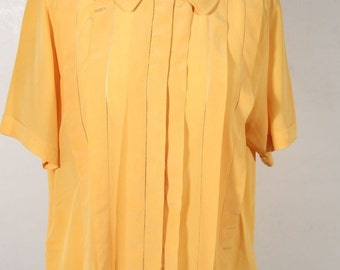 SPIGA 31 VINTAGE Yellow Silk SHORT sleeve shirt pintuck blouse sz 40 it ga