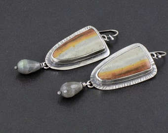 Royal Savannah Jasper and Labradorite Earrings, silver gray brown, jasper earrings, boho, bohemian, sterling silver, labradorite earrings