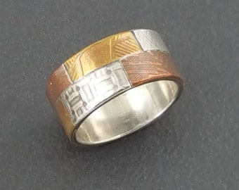 Patchwork Ring Band, size 7, mixed metal ring band, mixed metals, silver copper brass, ring band, mixed metal, multi metal, michele grady