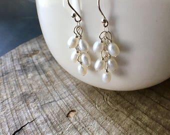 Sale - Pearl Cascade Earrings, Pearl Earrings, Wedding Jewelry, June Birthstone
