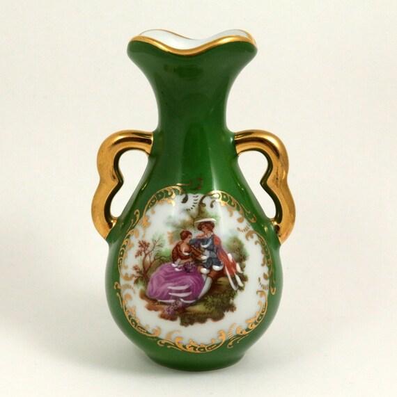 Vintage Green Limoges Bud Vase
