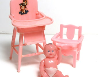 Vintage Renwal Baby Doll and Pink Dollhouse Furniture: High Chair, Potty