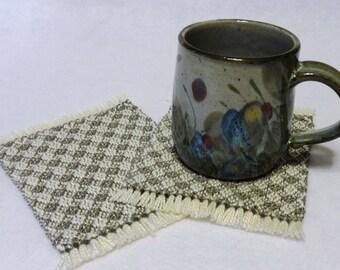 Drink Coasters, Woven Coasters, Handwoven Mug Rugs, Woven Mug Rugs, Handwoven Coasters - Natural and Gray, Set of 2 (#17-05 gray)