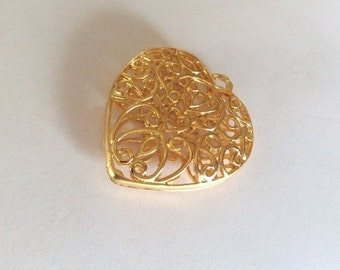 1pc -Matte Gold plated Ornamate Heart Pendant - 50x45mm-(017-046GP)
