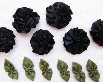 6 pc BLACK 6 pc GREEN Satin Ribbon Fabric Flower Applique Shabby Chic Baby Doll Carnation Cabbage Rose Bow
