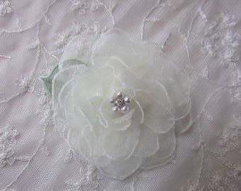 3.5 Inch Rhinestone Pearl Beaded Wired IVORY Organza Glitter Rose Flower w Leaf Bridal Bouquet Hair Accessory