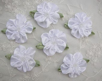 6pc Glass Beaded White Satin Fabric Fabric Flower Applique Baby Doll Christening Bridal Corsage