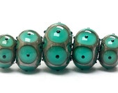 ON SALE 40% OFF Five Graduated Ocean Blue w/Black Dots Rondelle Beads - Handmade Glass Lampwork Beads - 10503801
