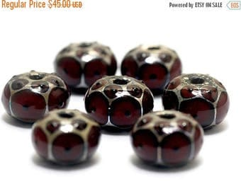 ON SALE 50% OFF Handmade Glass Lampwork Bead Sets -  Seven Red Rondelle Beads - 10704421