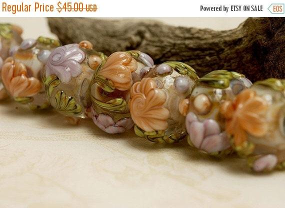 ON SALE 35% OFF Glass Lampwork Bead Set - Seven Light Pink w/Orange Floral Rondelle Beads 10801001