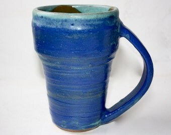 Blue Ceramic Mug Stein  in Stoneware Holds One and Three Quarters Cup Hand Thrown One of a Kind