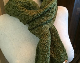Handwoven olive green cotton scarf huck lace