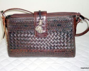 Vintage Brighton satchel, Boston bag purse in mahogany brown smooth and textured leather silver detail vintage 80s