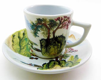 Vintage ROC Taiwan Porcelain Teacup & Saucer Set Hand Painted Primitive Countryside Rustic Scenery