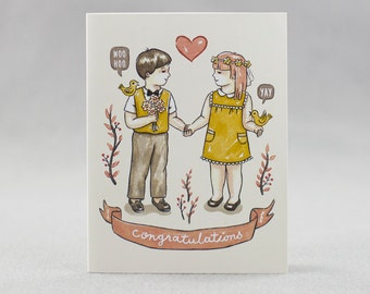 Offset Wedding Card, Love in Bloom