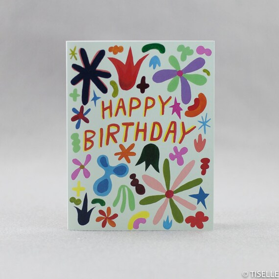 Offset Birthday Card, Birthday Flowers