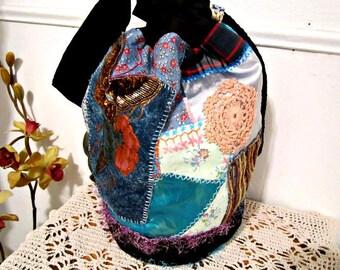 Drawstring Bag, Large Bucket Bag, Bohemian Gypsy Bag, Handcrafted Fabric Bag, One-Of-A-Kind Bag,  Shoulder bag