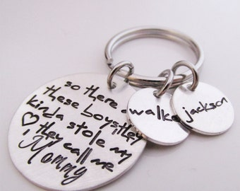Mommy  Key chain - Personalized Keychain - Hand stamped key ring - So there are these boys