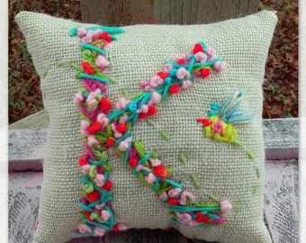 Bohemian Letter Mini Pillow Made To Order Any Letter Any Color Any Small Accent YelliKelli