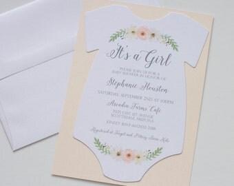 Vintage Floral Baby Shower Invitation - Boho Baby Shower - Onesie Invitation - Baby Girl Shower Invitation - First Birthday Invitation