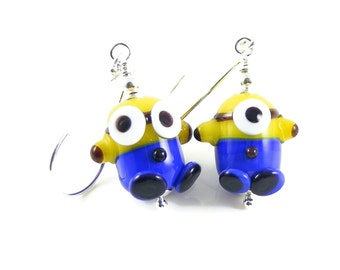 Character Earrings, SRA Artisan Lampwork Glass, Blue & Yellow Handcrafted Sterling Silver Jewellery, Fun Stocking Fillers