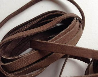 Vintage Leather Flat Strip Brown Chestnut Genuine Cord so Soft