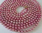 Vintage 8mm Pink Mercury Glass Bead Garland  Over 8 Feet  MBG1407