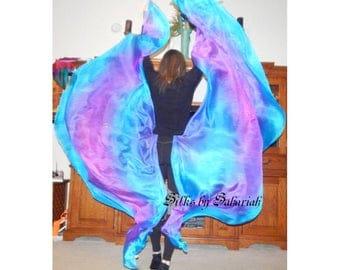 "Sahariah's Silk Belly Dance Veil Rectangle original ""Killer Silk"" 5mm Half Circle Veils"