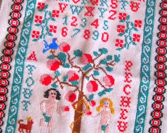 1970s Adam And Eve Crossstitch