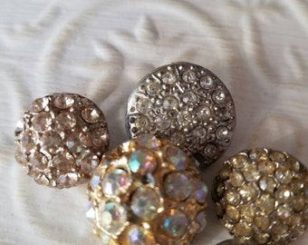 Vintage buttons, rhinestone styles, assorted , 1950's, metal, rhinestones, lot of 5 designs (feb 25 17)