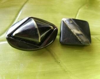 Vintage Buttons - 2  large  black novelty light weight celluloid metal back (feb72 17)