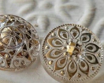 Vintage Buttons - 3 assorted  novelty gold hand painted flower designs cut glass Depression glass (lot feb 339 17)