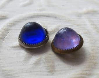 Vintage buttons, 2 assorted gum drops blue rhinestone style 1950's, metal, metal setting  (mar 279 17)
