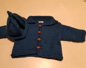 Reserved For Lois Blue (Ocean) Cardigan Baby Sweater, Football Buttons, Rolled Brim hat, Gift for Baby, FREE SHIPPING, by hipknitta