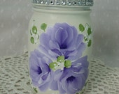 Glass Storage Mason Jar with Lid Hand Painted Lilac Purple Roses Ivory Lavender Bath Kitchen